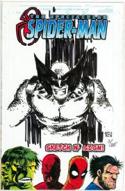 Spectacular Spider-man #1 Jay Company Originals Sketch N Sign Keu Cha Remarked Wolverine COA #3